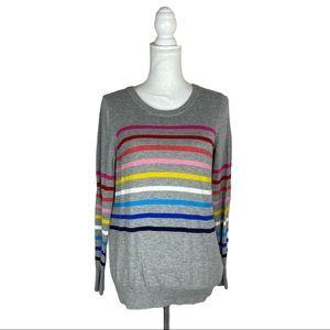 Gap Rainbow Crazy Stripe Grey Crew Neck Sweater